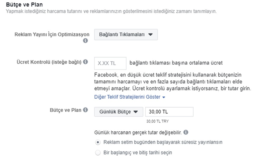 facebook butce plan